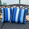 Christopher Knight Home Milano Colbalt Blue Striped 17-inch Sunbrella Pillows (Set of 2)