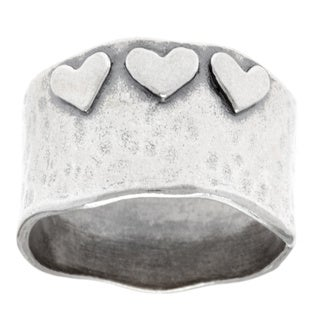 Sterling Silver 'Love You' Hammered Heart Fashion Ring (Israel)