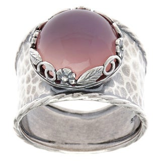 'The Garden' Sterling Silver Carnelian Cabochon Fashion Ring (Israel)