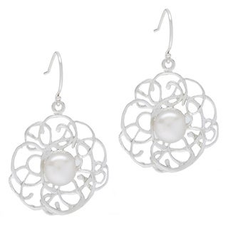 Webbed Sterling Silver Faux Pearl Dangle Earrings (Israel)