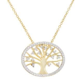 La Preciosa Sterling Silver Cubic Zirconia Tree of Life Necklace