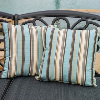 "Christopher Knight Home Carnegie Celeste 17"" Striped Outdoor Sunbrella Pillow (Set of 2)"