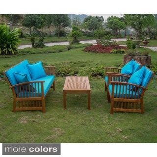 International Caravan Royal Tahiti 'Phuket' Settee Set with Cushions and Four 18-inch Throw Pillows