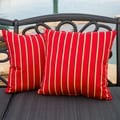Christopher Knight Home Hardwood Crimson Red Striped Pillow (Set of 2)