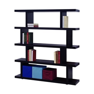 Contemporary Black Wood Wall Shelving Unit