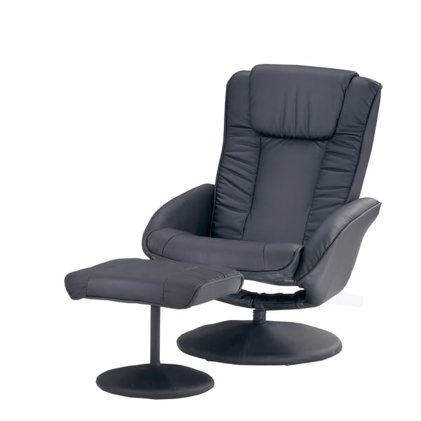 Black Vinyl Swivel Recliner and Ottoman