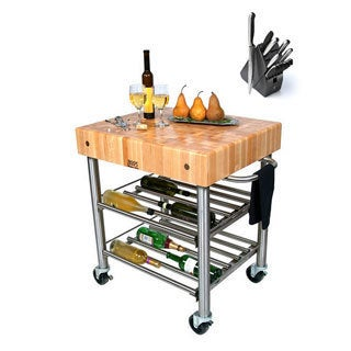 John Boos CUCD15WC Cucina Maple D'Amico 30x24x35 Wine Cart with Henckels 13 Piece Knife Block Set