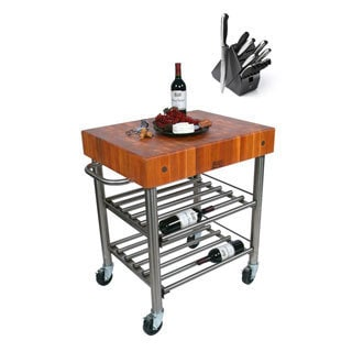 John Boos CHY-CUCD15WC Cucina Cherry D'Amico 30 x 24 x 35 Wine Cart and Henckels 13-piece Knife Block Set