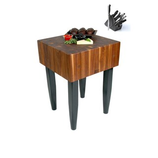 John Boos WAL-PCA2 Walnut Butcher Block 24 x 18 x 34 Table and Henckels 13-piece Knife Block Set