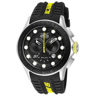 Invicta Men's 'Rally Racer' Black/ Yellow Chronograph Watch