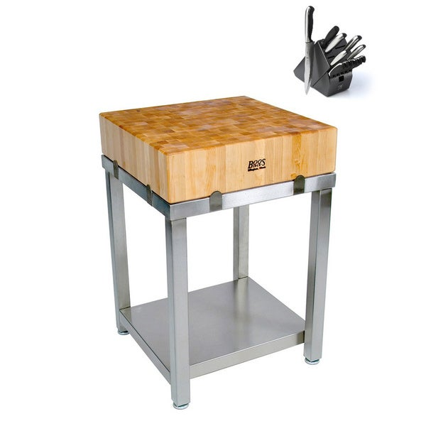 John Boos Cucina Americana Laforza Butcher Block 24x24 Table with Henckels 13 Piece Knife Block Set