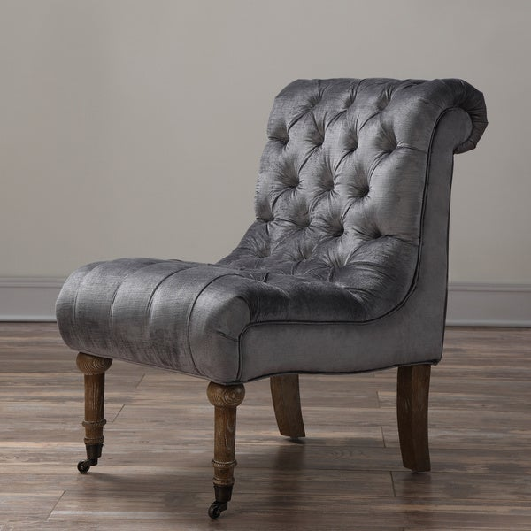 Vivi Grey Velvet Slipper Chair