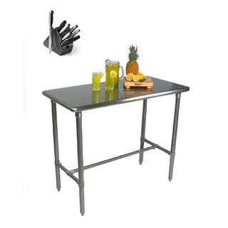 John Boos BBSS4824 Cucina Americana Classico 48x24x36 Table with Henckels 13 Piece Knife Block Set