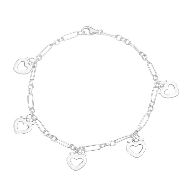 .925 Sterling Silver 'Surrounded By Love' Open Heart Charm Anklet