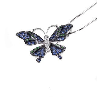 14k White Gold Sapphire, Tsavorite and Diamond Butterfly Necklace