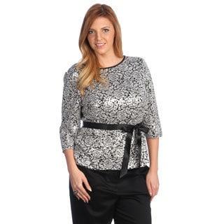 Alex Evenings Women's Plus Size Sequin Blouse with Ribbon Tie Belt