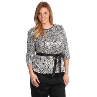 Alex Evenings Women's Plus Size Sequin Blouse with Ribbon Tie Belt