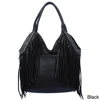 Via 'Genie' Bohemian Fringe And Studs Hobo Bag