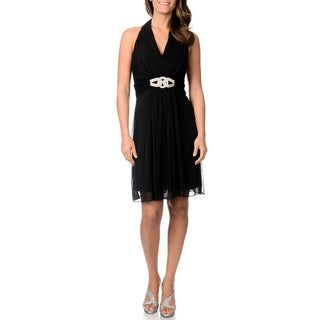 Cachet Women's Little Black Halter Dress