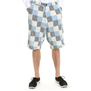 Men's White and Blue Gingham Patchwork Shorts