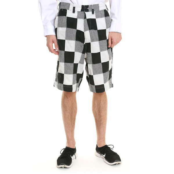 Men's Black and White Gingham Patchwork Shorts