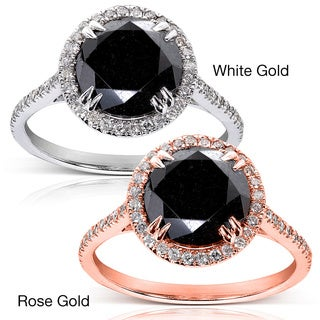 Annello 14k Gold 4 1/3ct TDW Black and White Diamond Halo Ring (G-H, I1-I2)