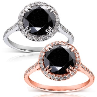Annello 14k Gold 4 1/3ct TDW Black and White Diamond Halo Ring (G-H, I1-I2)