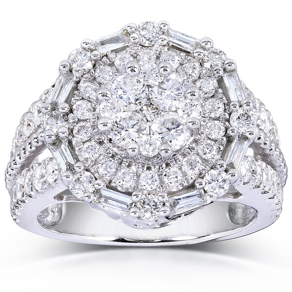 Annello 14k White Gold 1 3/4ct TDW Round and Baguette Diamond Composite Ring (H-I, I1-I2)