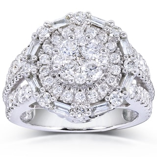 Annello 14k White Gold 1 3/4ct TDW Round and Baguette Diamond Composite Ring (H-I, I1-I2)