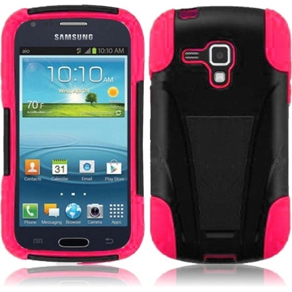 INSTEN Black/ Hot Pink T-Stand Phone Case Cover for Samsung Galaxy Amp i407