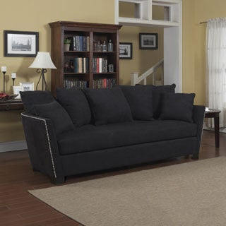 Portfolio Lucie Black Microfiber Flared Arm Sofa