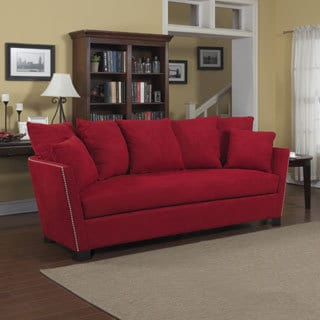 Portfolio Lucie Red Microfiber Flared Arm Sofa