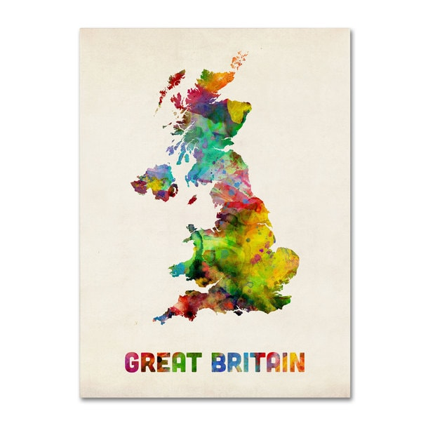 Michael Tompsett 'UK Watercolor Map' Canvas Art