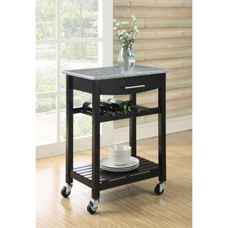 Granite Top Espresso Wood Rolling Kitchen Cart