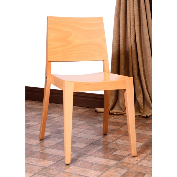 English Natural Beech Wood Dining Chairs (Set of 2)