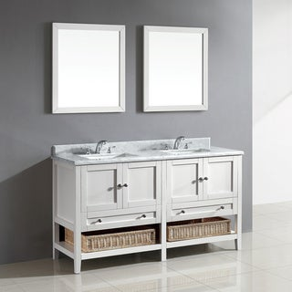 Hillmount 60 Inch White Bathroom Vanity With Carrera Marble Top Overstock Shopping Great