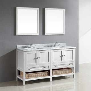 Hillmount 60-inch White Bathroom Vanity with Carrera Marble Top