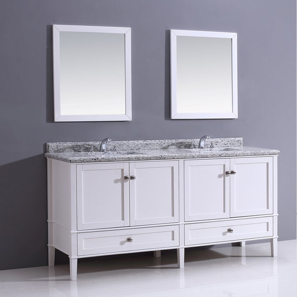 Castlemore 72 inch white bathroom vanity with giallo white for Bathroom 72 inch vanity