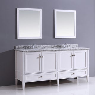 Castlemore 72-inch White Bathroom Vanity with Giallo White Granite Top