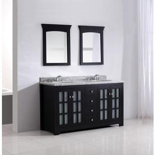 Bayshore 60-inch Black Bathroom Vanity with Giallo White Granite Top