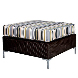 Portfolio Dorchester Stripe Indoor/Outdoor Resin Wicker Ottoman/Table
