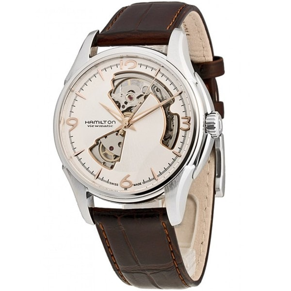Hamilton Men's 'Jazzmaster' Skeleton Dial Open Heart Brown Strap Watch
