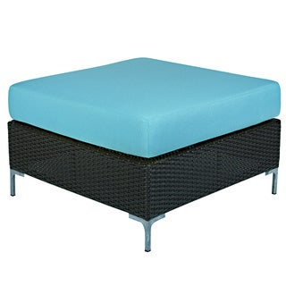 angelo:HOME Napa Springs Mediterranean Ocean Blue Ottoman/Table Indoor/Outdoor Resin Wicker