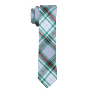 Skinny Tie Madness Men's Green Plaid Skinny Tie