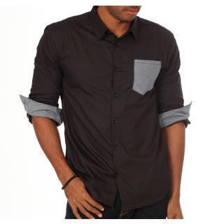 00Nothing Men's Contrast Pocket Slim Fit Solid Shirt