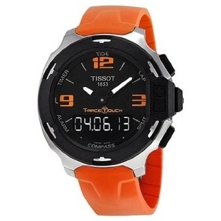 Tissot Men's 'T-Touch' Black/ Orange Stainless Steel Watch