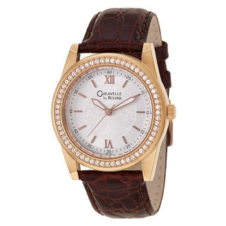 Caravelle by Bulova Women's 'Crystal' Rose Goldplated Stainless Steel Watch
