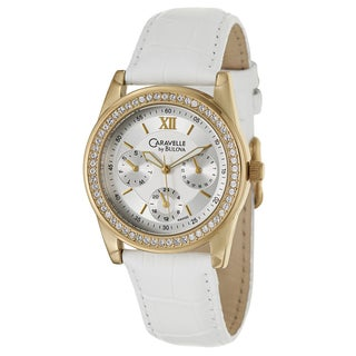 Caravelle by Bulova Women's 'Crystal' Yellow Gold Plated Stainless Steel Military Time Watch