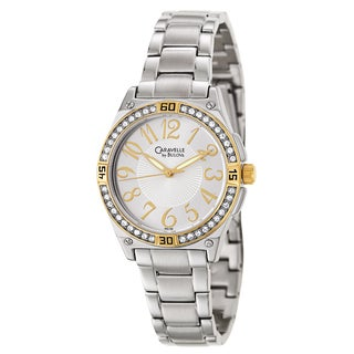 Caravelle by Bulova Women's 'Crystal' Yellow Gold Plated Stainless Steel Japanese Quartz Watch
