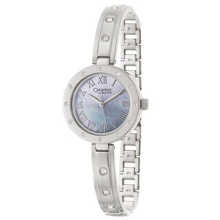 Caravelle by Bulova Women's 'Crystal' Stainless Steel Blue Mother of Pearl Japanese Quartz Watch